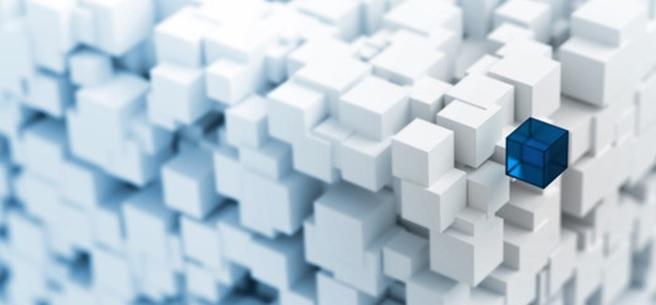 Cubes blancs en 3d dont un bleu